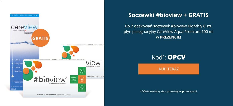 Do 2 opakowań soczewek #bioview Monthly 6 szt. płyn pielęgnacyjny CareView Aqua Premium 100 ml w PREZENCIE